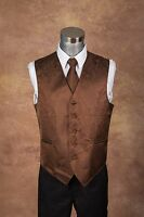 Men's Chocolate Brown Color Paisley Design Dress Vest and NeckTie Set for Suit.