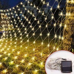 Solar Powered Net Mesh Led String Fairy Lights Xmas Garden Outdoor Party Decor Ebay