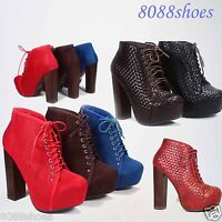 Women's Fashion Chunky Heel Platform Lace Up Bootie Shoes Size 5.5- 10