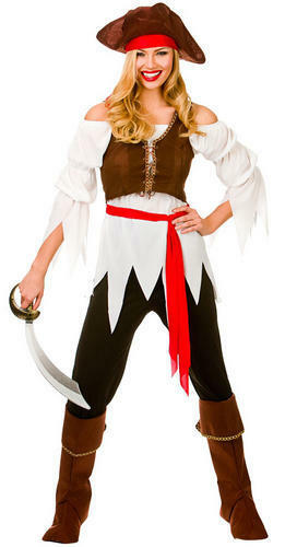 Pirate Shipmate Hat Ladies Fancy Dress Caribbean Buccaneer Womens Costume New