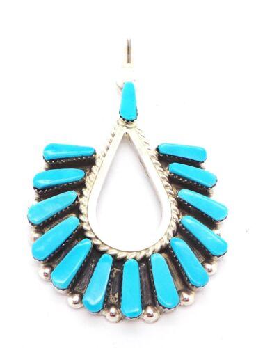 Carlene Hattie Zuni Handmade Sterling Silver Turquoise Pendant