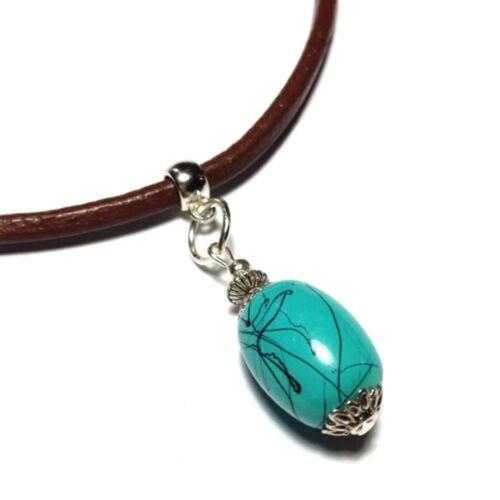 Turquoise Leather Choker Necklace Pendant Choose Your Thong Size Hippy Retro UK