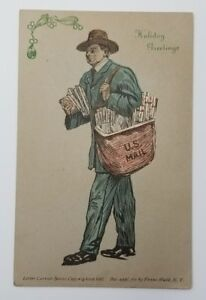 Letter-Carrier-Postcard-Franz-Huld-Mailman-Holiday-Greetings-Postcard-N12