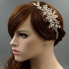 Crystal Pearl Leaf Vine Headband Headpiece Tiara Bridal Wedding Accessory 3980 G