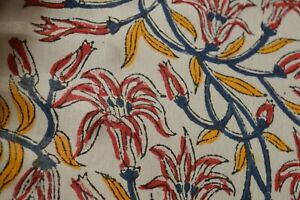 Cotton Voile Floral Print Fabric Indian Bohemian Soft Fabric Perfect for Crafting Dressmaking Natural Dye Fabric for Sewing by The Yard