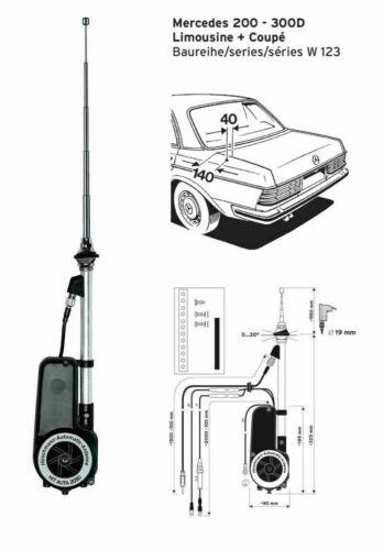 Antenne électrique Original Hirschmann télescopique pour MERCEDES-BENZ w124