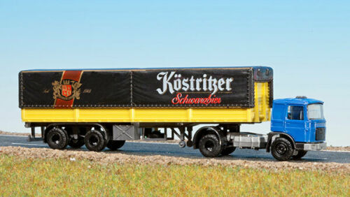 """/""""Köstritzer Schwarzbier/"""", Schirmer 10280 Roman//MAN//Raba mit Pritsche und Plane"""