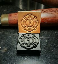 IAFF Fire Department / firefighter Maltese Cross leather embossing stamp 1""