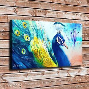 Watercolor Peacock Art Print // Canvas Print Poster Home Decor Wall Art