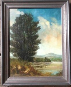 Ernst-schwobthaler-1890-Freiburg-1967-Oil-painting-Trees-On-The-River-Antique-Signed