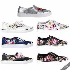 76aa7d44cd17bc Image is loading Women-Ladies-Floral-Glitter-Slip-On-Plimsolls-Trainers-