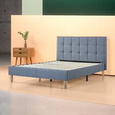 Zinus Lottie Upholstered Square Stitched Platform Bed, Blue Slate