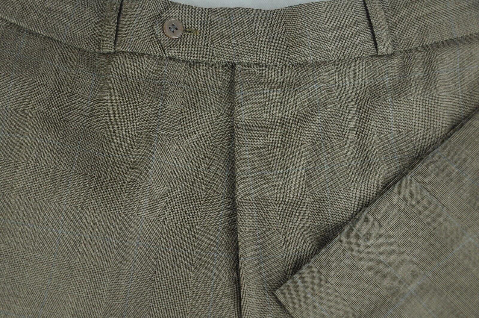 Mario Valentino Herren Luxus Braun Blau Kariert Wolle Kaschmir Anzughose 32 X 30