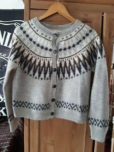 Vtg Icelandic Fair Isle Style Grey Cardigan H&M Small