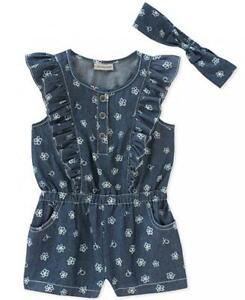 f69aacbdbee4 Image is loading Calvin-Klein-Infant-Girls-Chambray-Romper-amp-Headband-