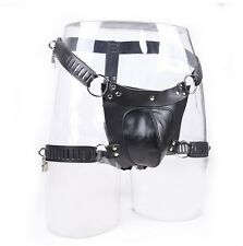 Faux Leather Male Thigh Cuffs Chastity Device Cage Underwear Panties Knickers M