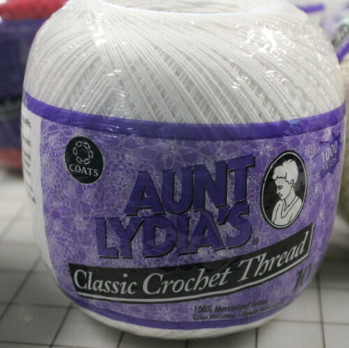Aunt Lydia/'s Crochet Thread 10 1000 yds White or Natural Red 350 Yds U Choose