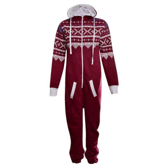 2bfa892ed693 Unisex Womens Mens Tracksuit Hood Jumpsuit Pyjamas Playsuit ...