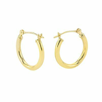 14k Yellow Gold Hoop Earrings 14mm Small Latch Post Hoops - High Polish