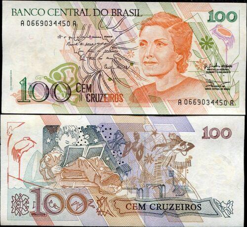 BRAZIL 100 CRUZEIROS P 228 UNC W//Y TONE