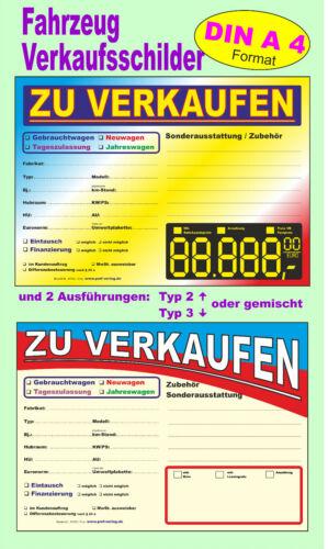 DIN A4 PKW-,Fahrzeug- in 2 Ausführungen Verkaufsschilder 3-10 Kfz- Auto-
