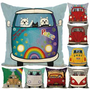 Am-KF-Polyester-Car-pillow-case-cover-sofa-car-throw-waist-cushion-cover-Home