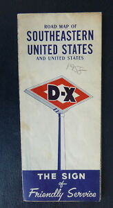1958 Southeastern United States and United States road map D-X oil ...
