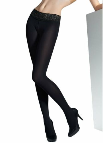 Marilyn Lace Waistband Hipsters Black 100 Denier Low Waist Opaque Black Tights