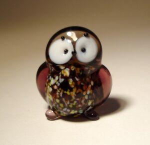 Blown Glass Figurine Small White North Polar OWL Bird