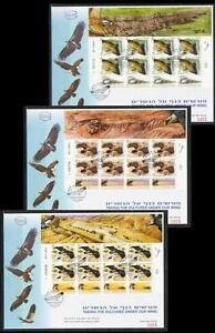 ISRAEL-2013-EAGLES-CONSERVATION-3-SHEETS-STAMPS-BIRDS-FAUNA-VULTURE-GRIFFON-FDC