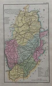 1808 Nottinghamshire originale antico colorato a mano Contea di carta 212 anni