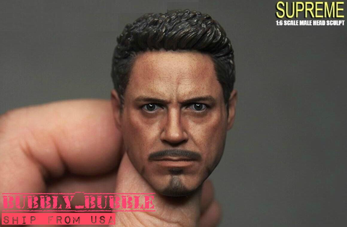 1 6 Tony Stark Iron Man Head Sculpt For 12  PHICEN Hot Toys Male SHIP FROM USA