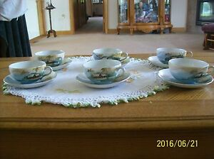 S-amp-K-Nippon-Saji-amp-Kariya-Handpainted-Vintage-Porcelain-6-Cups-amp-Saucers