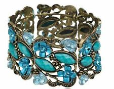 Antique Lk Gold Blue Turquoise Teal Jewel Stone Rhinestone Bangle Cuff Bracelet