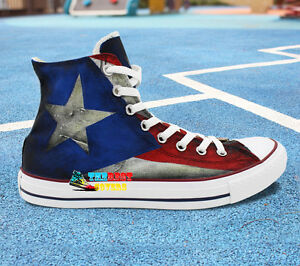 half off 88733 8390d Image is loading CONVERSE-All-Star-High-FLAG-PUERTO-RICO-Hand-