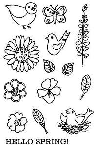 Unmounted-Rubber-stamp-Sheet-Spring-Fling-Flowers-6076