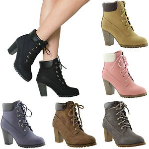 Details About Women S Ankle Boots Lace Up Booties Chunky Stacked High Heel Rugged Padded Shoes