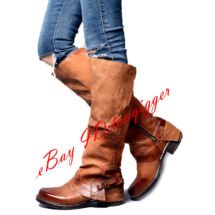 Gladiator Punk Donna Buckle Western Cowboy Roma Knee Pelle Stivali Riding Shoes