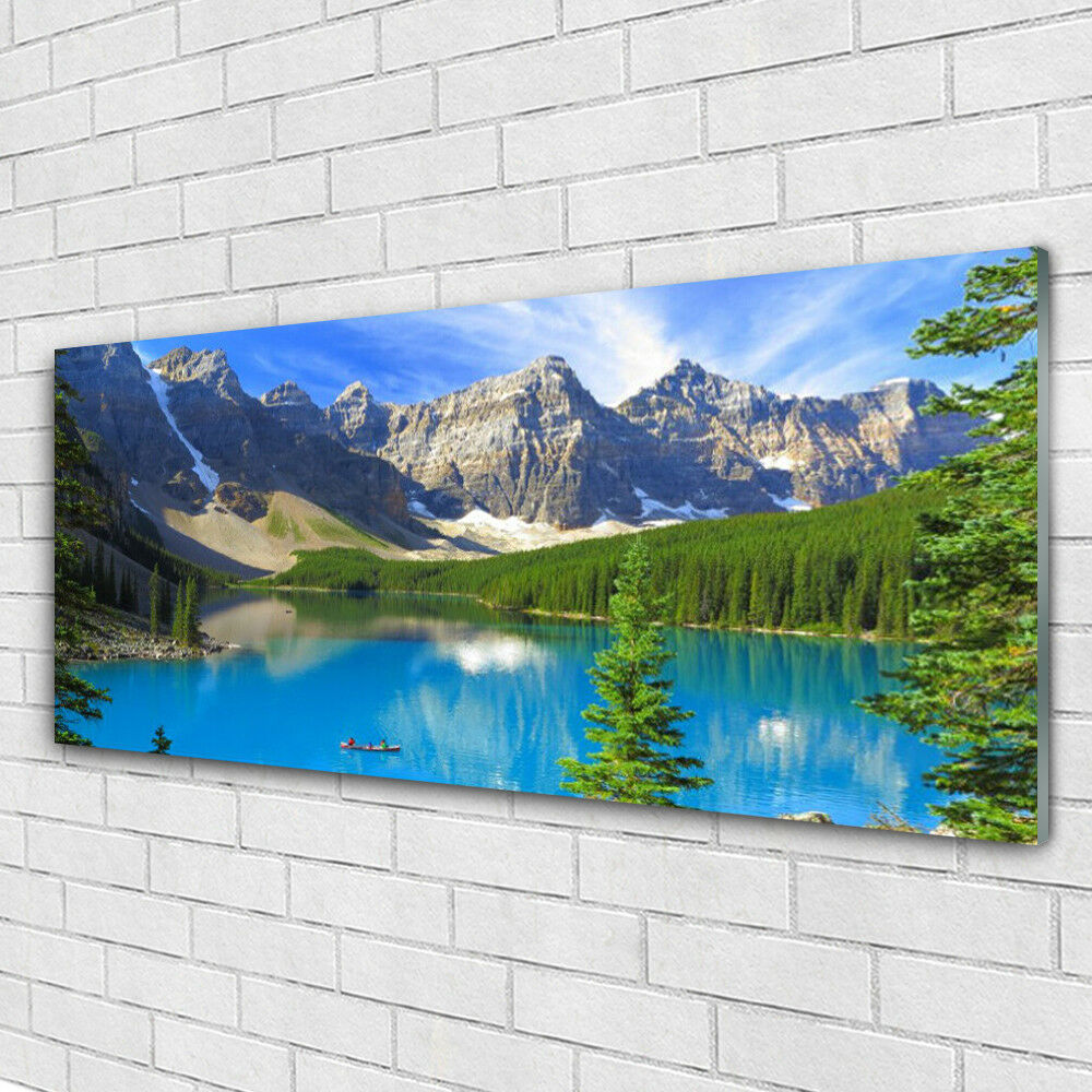 Glass print Wall art 125x50 Image Picture Lake Mountain Forest Landscape