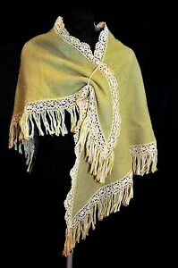 Vintage-60-039-s-70-039-s-Wool-Knit-Shawl-Cape-Poncho-One-Size-Moss-Green-Handmade