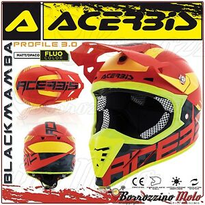 CASQUE-ACERBIS-PROFILE-3-0-BLACKMAMBA-MX-MOTOCROSS-ENDURO-ROUGE-JAUNE-TAILLE-S