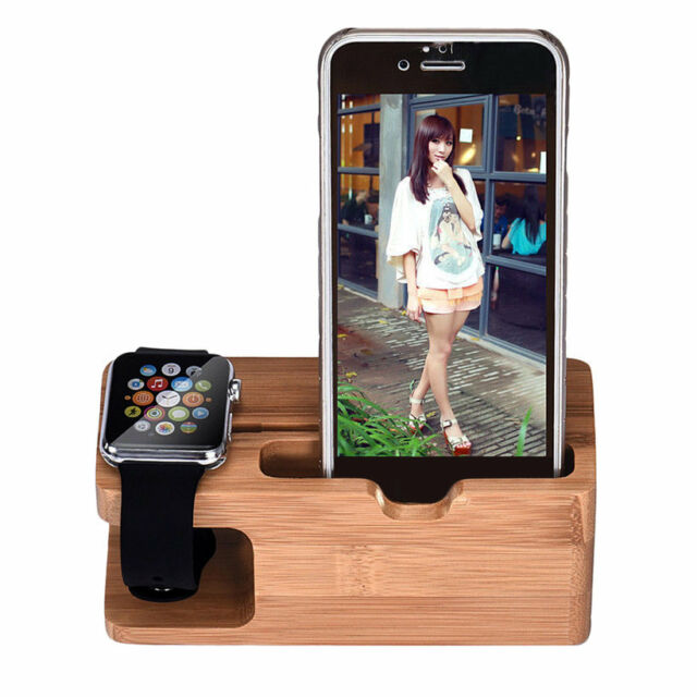Bamboo Wood Charging Station Charger Dock Stand Holder For Apple Watch Phone Q9