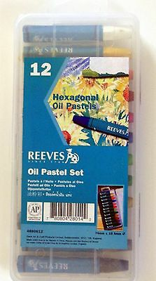 Reeves Large Assorted Hexagonal Oil Pastels Set of 12