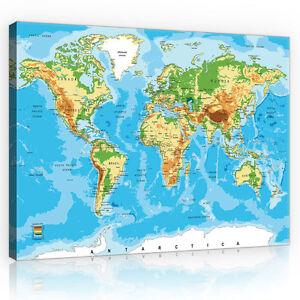 globus karte CANVAS Wandbild Leinwandbild Bild Landkarte Globus Welt Karte Foto