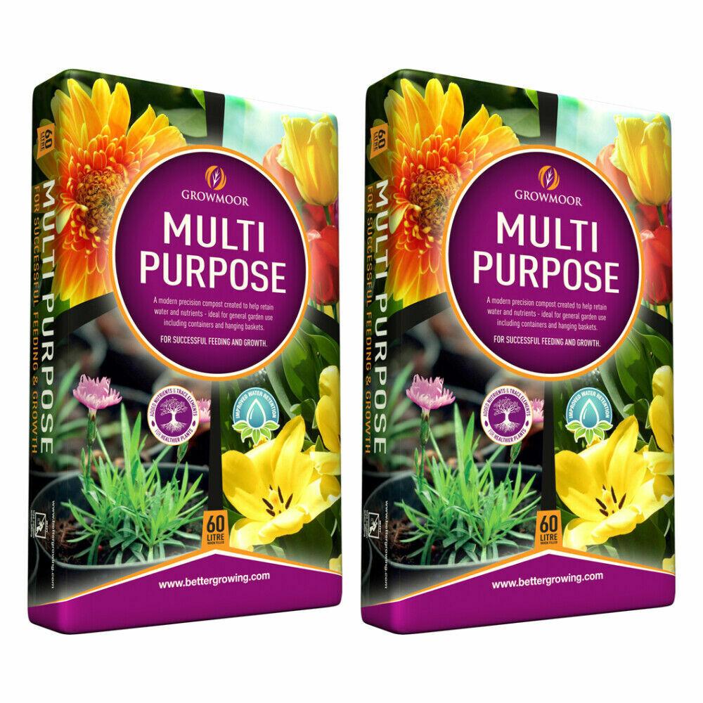 2x60L Growmoor Multi Purpose Garden Potting Compost - FREE NEXT DAY POSTAGE