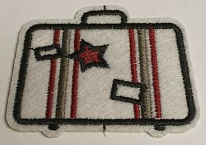 Iron on or Sew on Patch/Patches - Embroidered Retro Suitcase.
