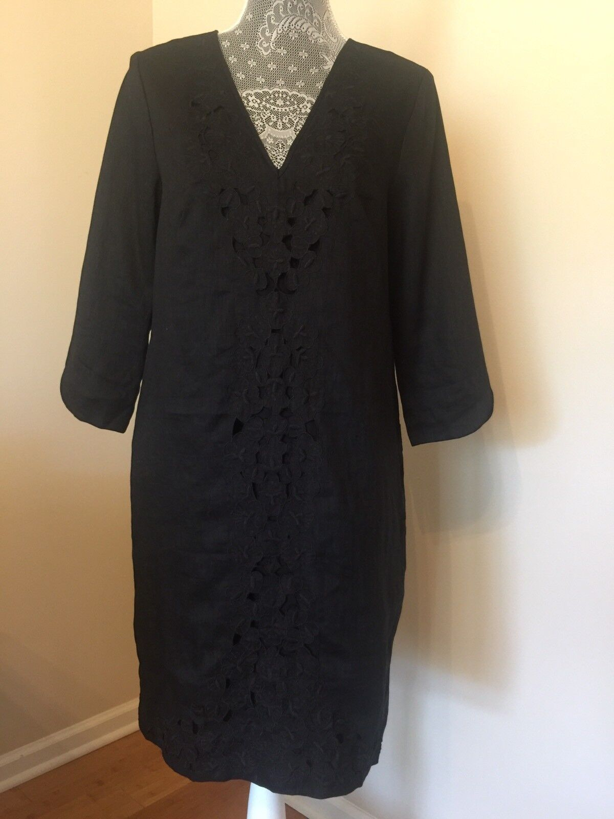 J.CREW Embroiderot Front schwarz Linen Dress V- Neck Sz 6 Work New
