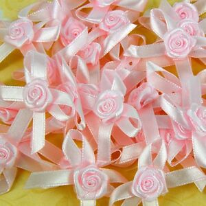 Satin-Ribbon-Bows-with-Rose-35-40mm-Rosebuds-White-Pink-Yellow-Red