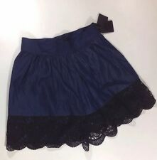 NEW ANNA SUI Women's Skirt Size 4 Small ALine Indigo Blue Denim Black Lace Dress
