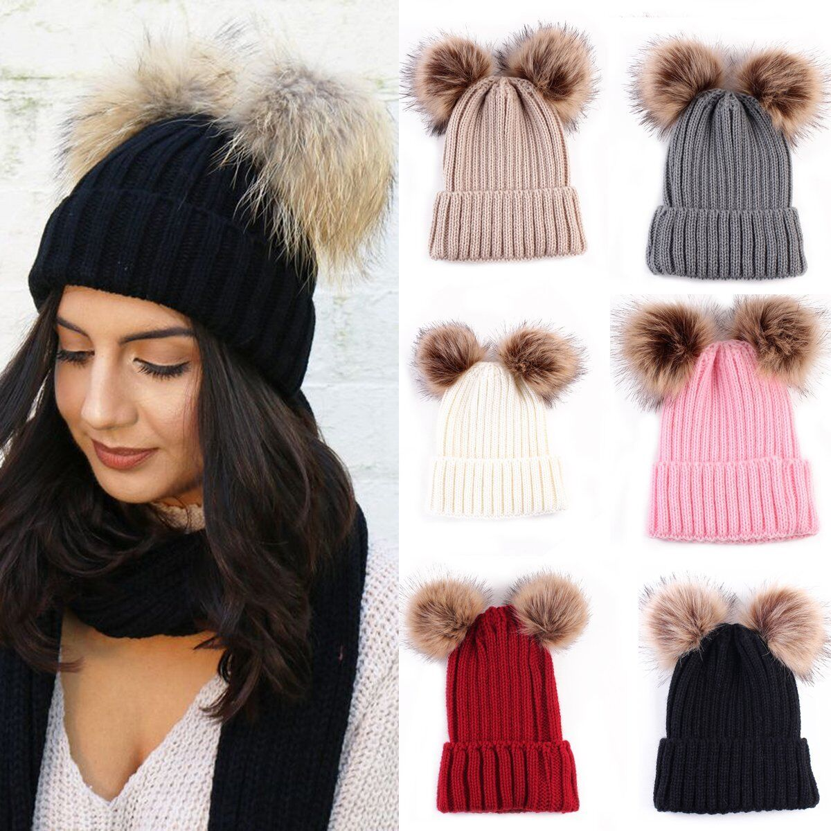 044b7d359 Details about Faux Fur Hat Double Pom Beanie Hat In Wool Knit Bobble Ski  Cap Winter Warm Lot !